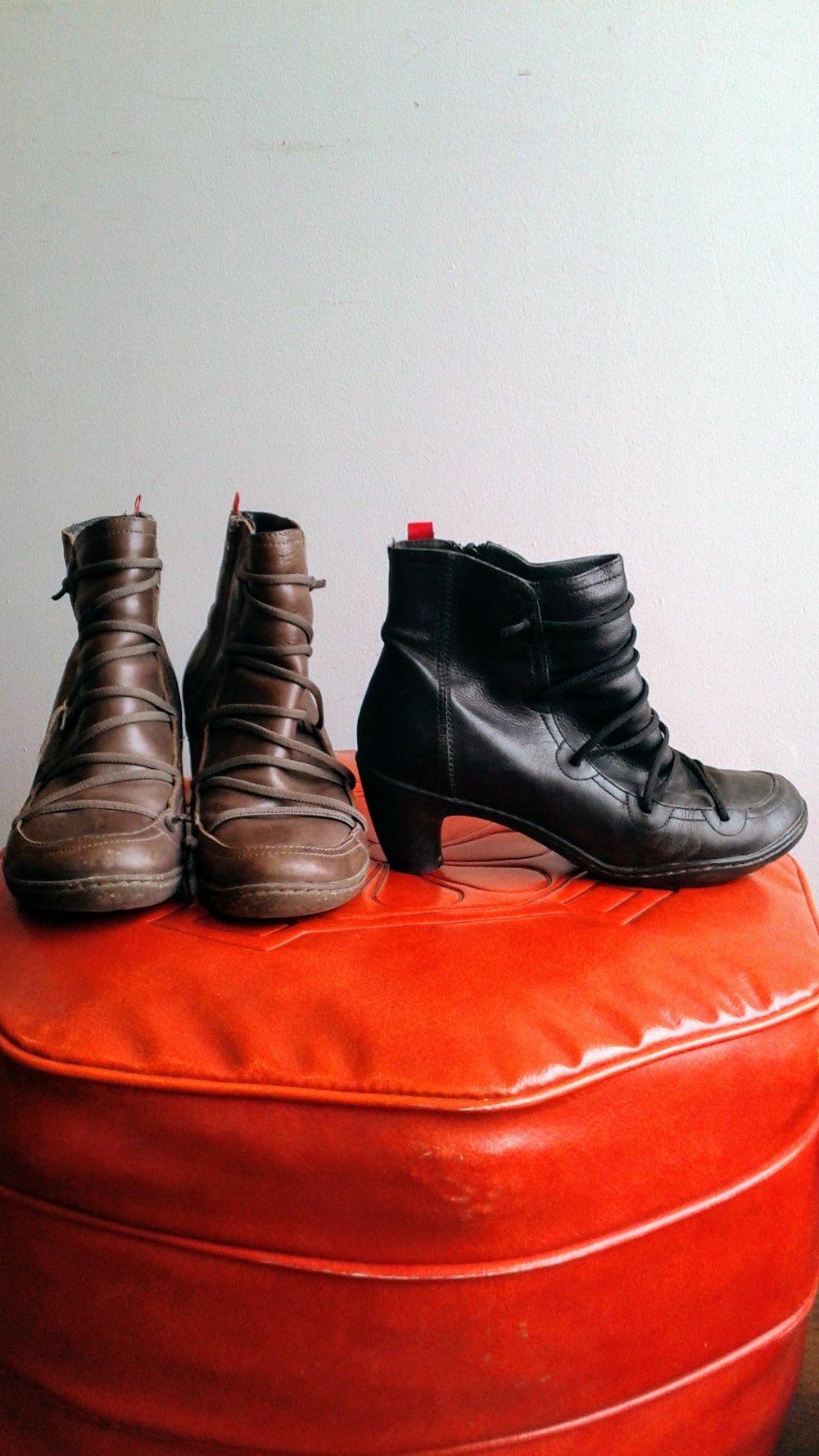 Brown Camper boots; S6.5, $46. Black Camper boots; S6, $38