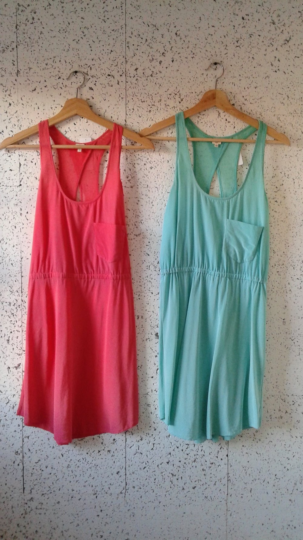 Coral Wilfred dress; Size XS, $40. Turquoise Wilfred Dress; Size S, $40