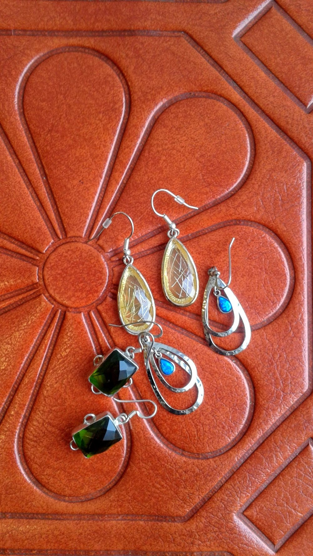 Earrings: Yellow, $14; Blue, $16; Green, $20