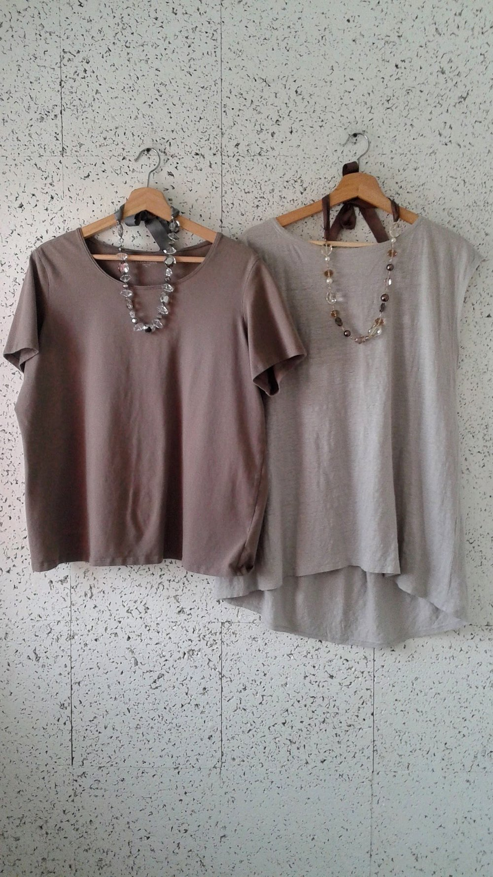 Eileen Fisher beige top; Size XL, $30. Eileen Fisher grey top; Size L, $40