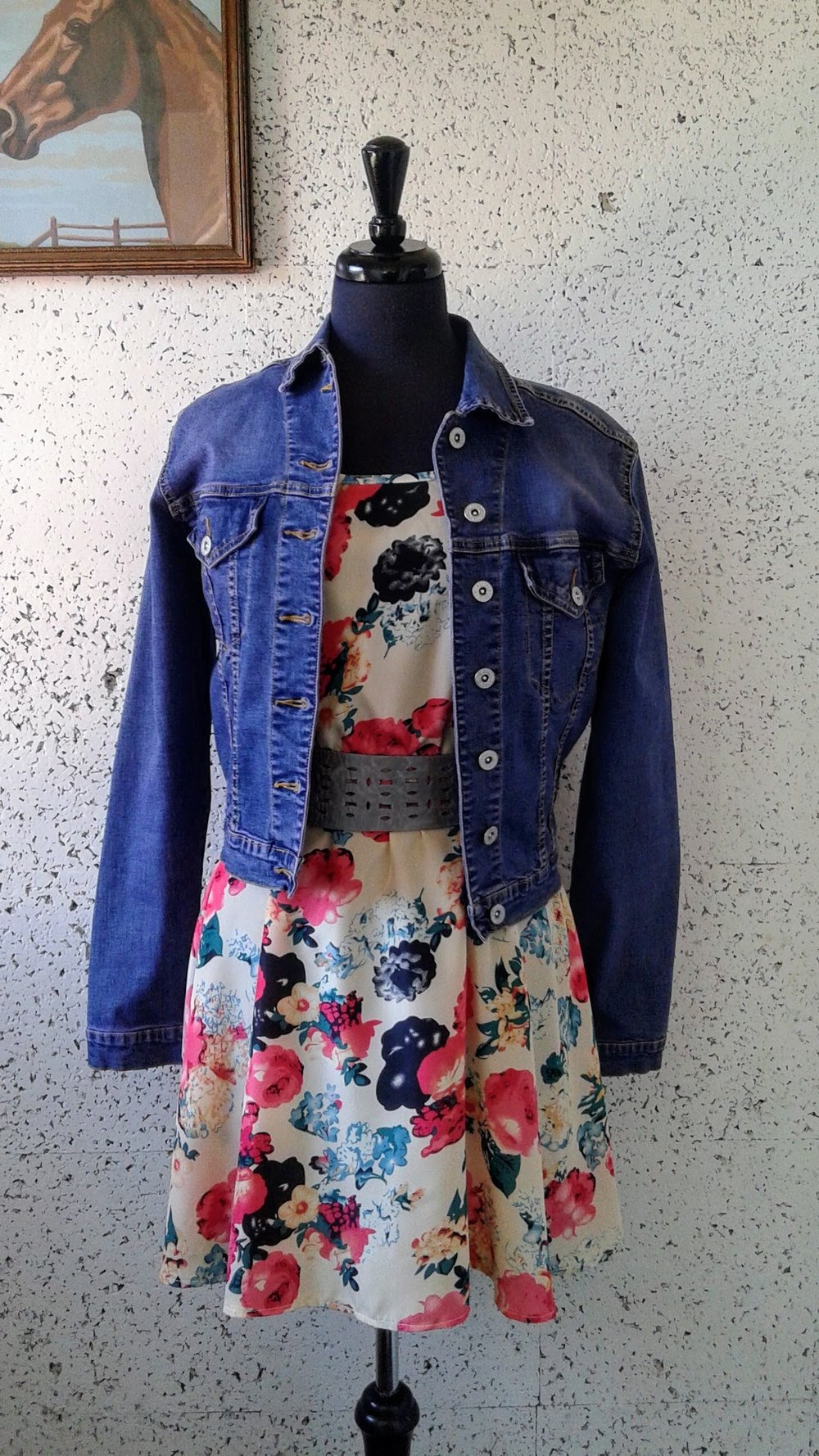 Buffalo denim jacket; Size S, $26. Lava Girl dress; Size M, $22; Ada belt, $40