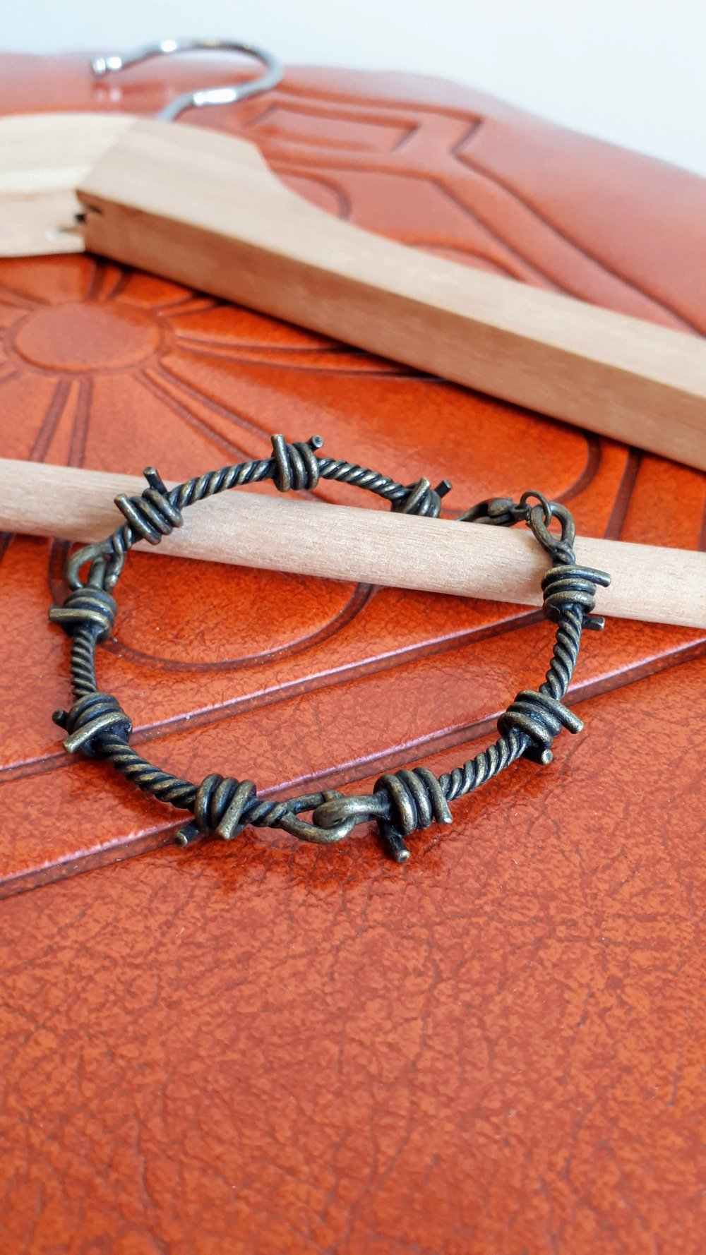 Barb wire bracelet, $18
