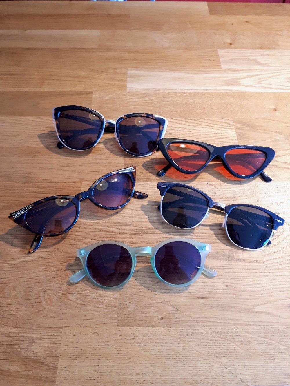 Sunglasses, $18 each