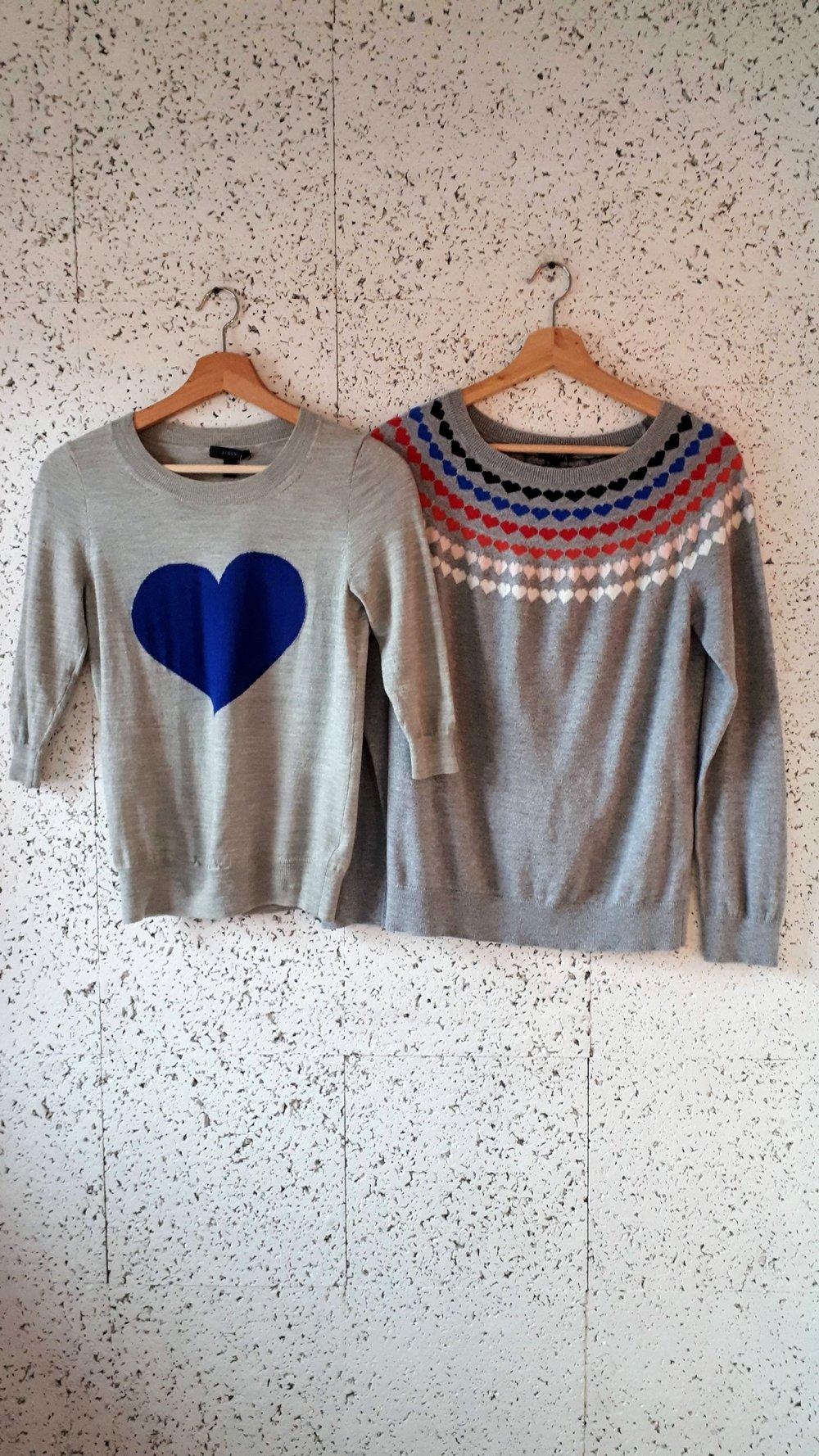 J Crew sweater; Size XS, $28. Talbots sweater; Size M, $28