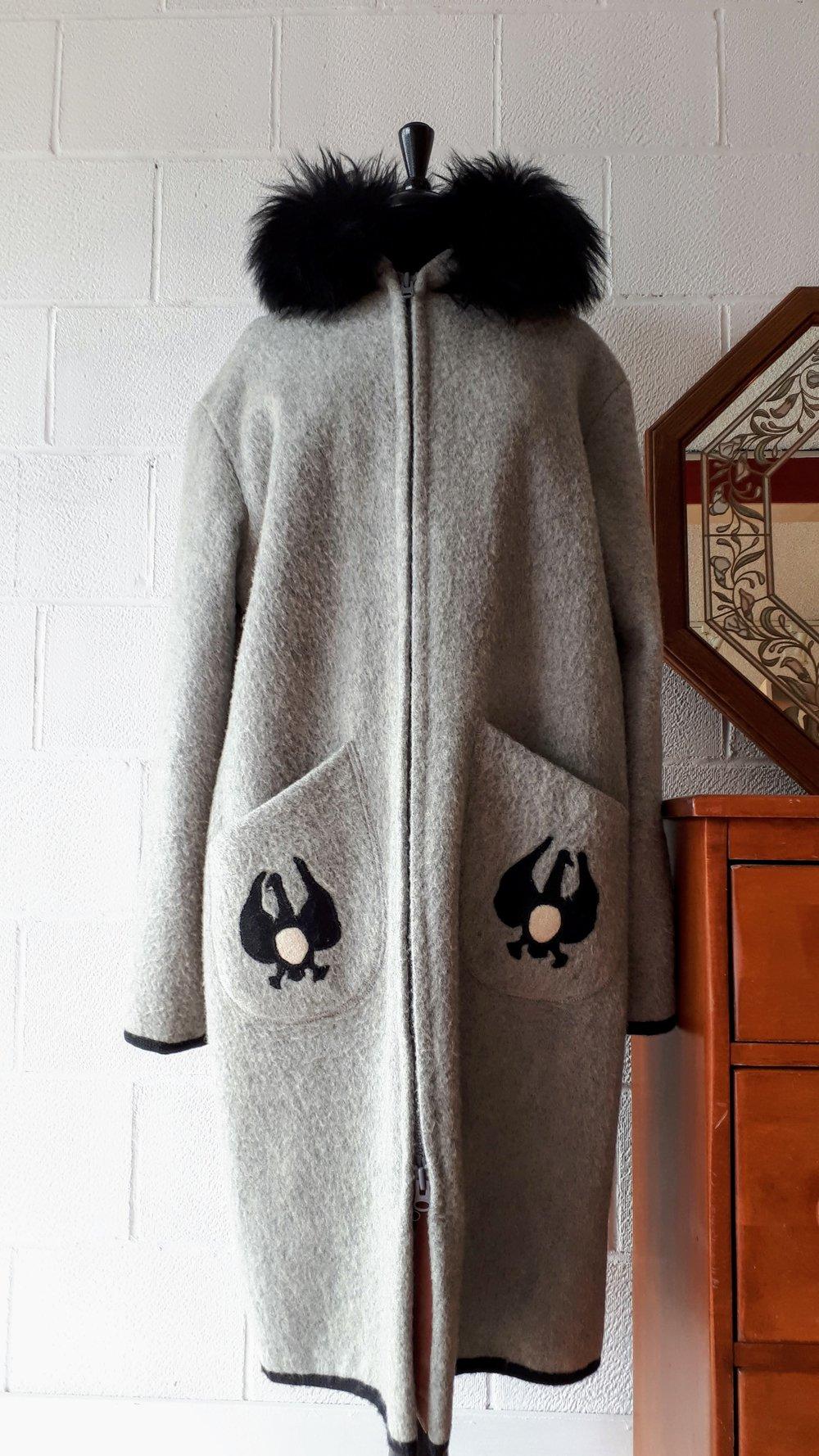 Wool coat; Size L, $225