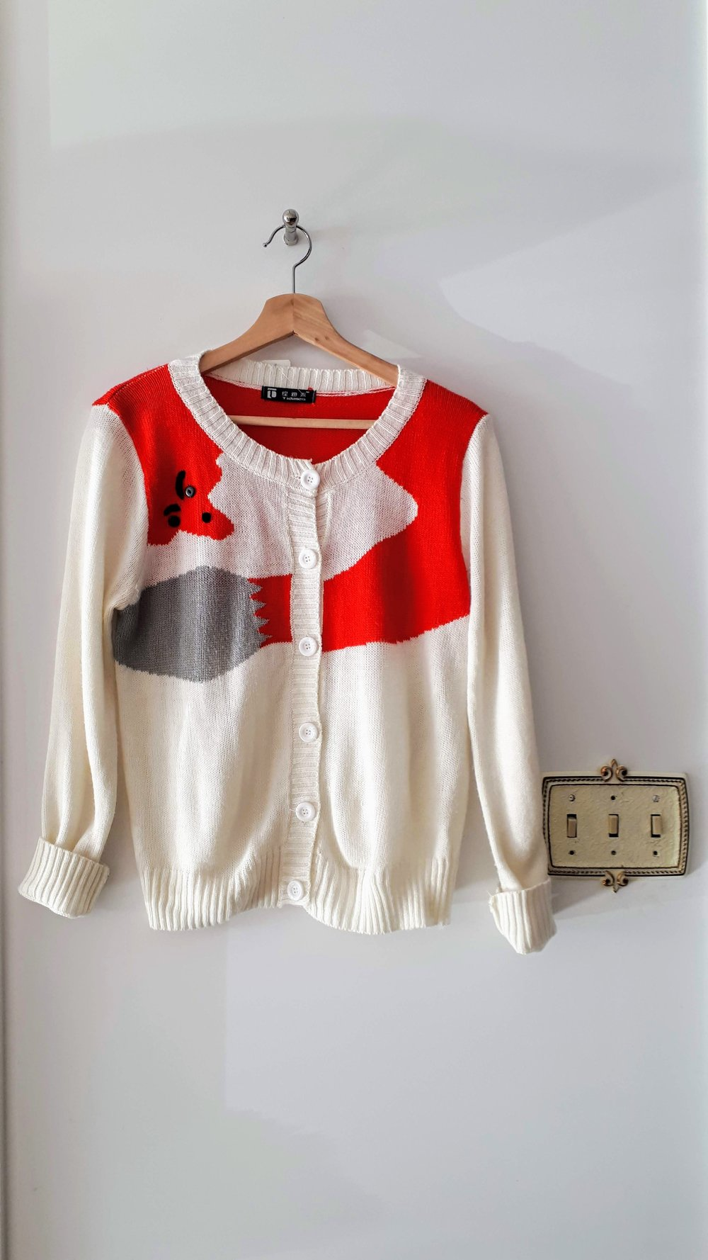 Fox cardigan; Size M, $24