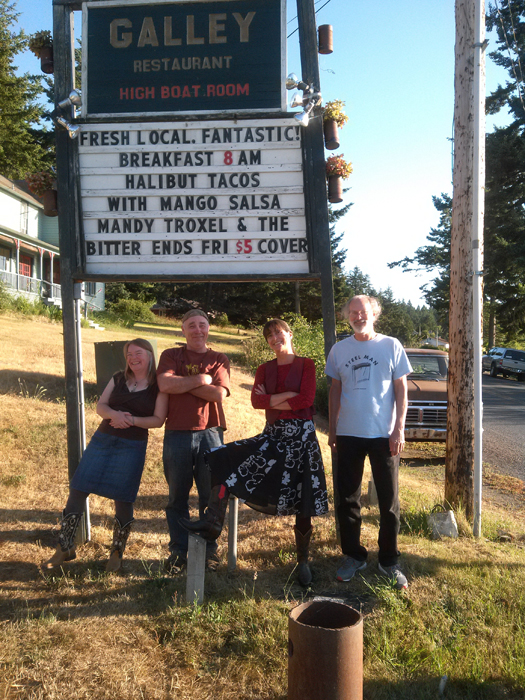 Mandy Troxel and the Bitter Ends looking forward to Halibut Tacos at the Galley on Lopez Island (2015)