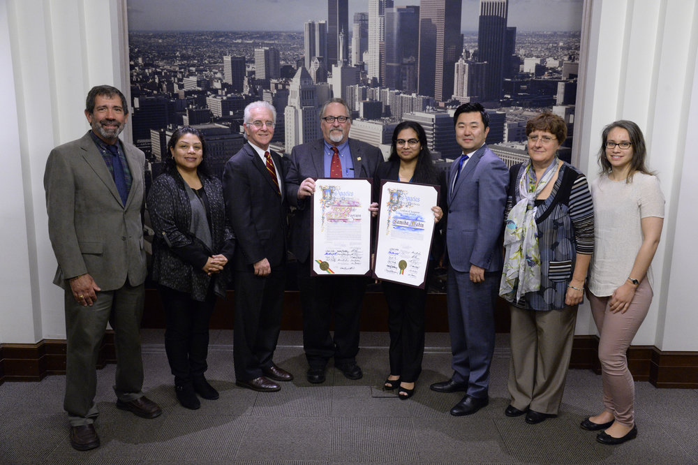 From left: Dr. Joe Cocozza of the Keck School of Medicine (co-director, USC STAR-EHA program), Glendy Ramirez (Bravo High School), L.A. City Councilmember Paul Krekorian, Dr. Daryl Davies (co-director, USC STAR-EHA program), Samiha Mahin, L.A. City Councilmember David Ryu, Dr. Martine Culty and postdoctoral research fellow Dr. Vanessa Brouard of the Culty Lab. (Photo courtesy Councilman Krekorian's office)