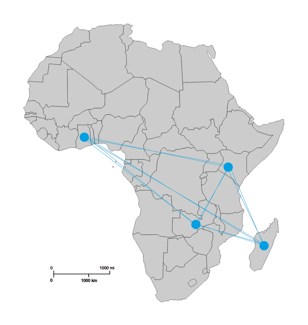 A map of Africa with four emerging cities highlighted: Kumasi in Ghana, Lusaka in Zambia, Nakuru in Kenya and Antananarivo in Madagascar. There are lines connecting the cities. These are the first four locations of our city data hubs.