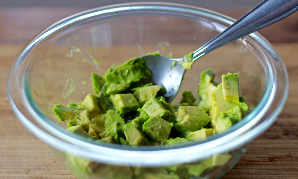 Mash avocado chunks (we like ours chunky so we like to leave little pieces for texture).