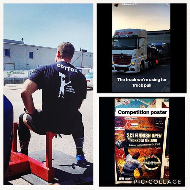 Almost go time for the Cotton Brothers in Finland.  Big weekend ahead.  2018 SCL Finnish Open. - - @cottonsense @lilmelliemel @tycott @iron_warrior_strongman  #strongman #strongmanchampionsleague #IWG #ironwarriorgym #ironwarriorstrongman #HereComeTheCottonBrothers #cottonstrong