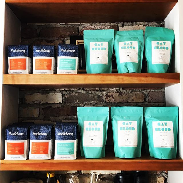 Proud to be serving our new budz @catcloudcoffee alongside our old budz @huckleberryroasters #denvercoffee #californiacoffee #denver #santacruz #coffeeshop #patio #treats