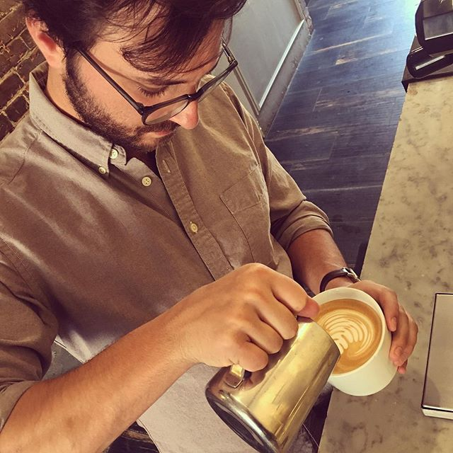 "Stop by and say ""Hi, Cole!"" He will be pouring perfect latte art all morning. 👋🏼☕️🍵👋🏼 * * * #overtcoffee #specialtycoffee #latteart #cappuccino #coffee #coffeeshop #denvercoffee #denver #coloradocoffee #organic #organicdairy"