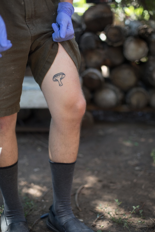 Jimena-Peck-Denver-Lifestyle-Editorial-Photographer-Daniel-Gray's-Sourdough-Bread-Leg-Tattoo-Mushroom