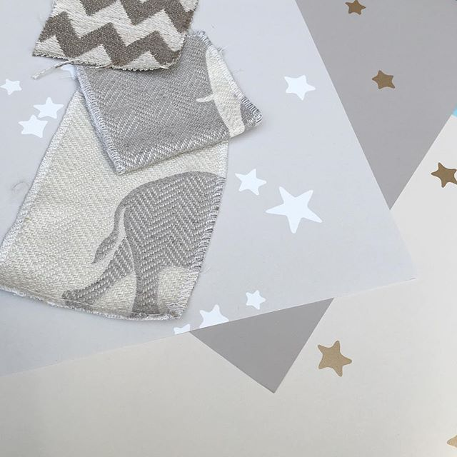 We're so excited that one of our lovely clients is expecting a baby next year and we have been asked to design the nursery. Sourcing some gorgeous fabrics and wallpapers at the Harbour. #hushdesignuk #interiors #interiordesign #nursery #fabrics #wallpaper #design ##cushions #instagram #instaspiration #elephants #stars #grey