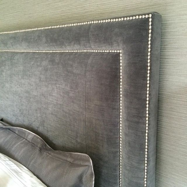 Detail of the headboard in the same Oxshott master bedroom.  #hushdesignuk #interiors #interiordesign #inspiration #headboard #instapiration