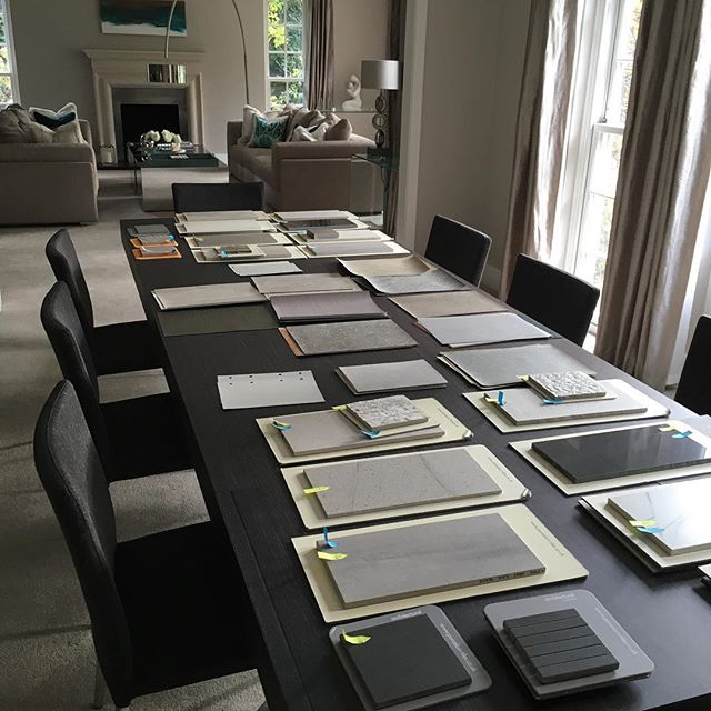 First client meeting of the day with a great developer. We're doing the specs for two Oxshott show houses. Samples galore and have been given the go ahead for both plots. ✔️ #hushdesignuk #instapiration #showhouse #interiordesign #interiors #inspiration #tiles #stone #samples #specifications