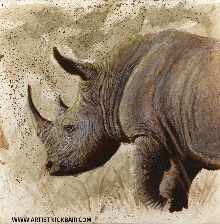 White Rhino Grazing - SOLD
