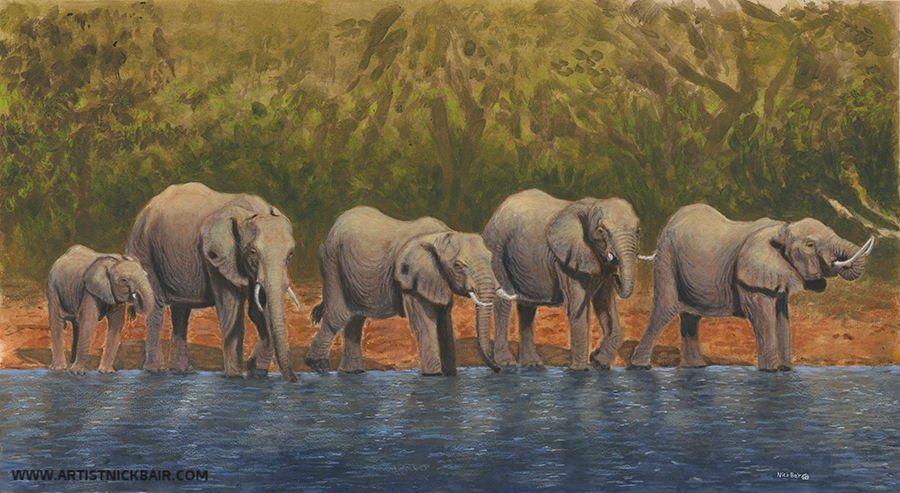 Elephants at the Watering Hole - SOLD