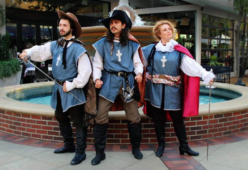 Zach Stolz (Aramis), Steven Sullivan (Athos) and Jesse Graham (Porthos) play the three Musketeers coming to Brookwood Village in July.