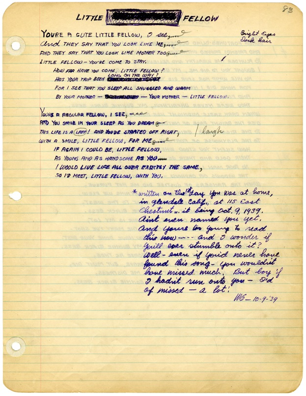 """Little Fellow"" original handwritten lyrics by Woody Guthrie, October 9, 1939. © Woody Guthrie Publications, Inc."