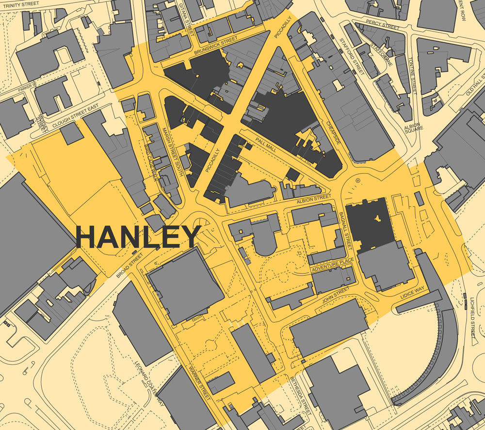 Hanley Cultural Quarter. Pall Mall, Piccadilly and the Town Hall are in dark grey.
