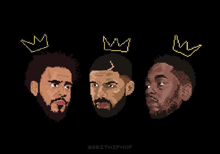 J.Cole (left) Drake (middle) Kendrick Lamar (right).