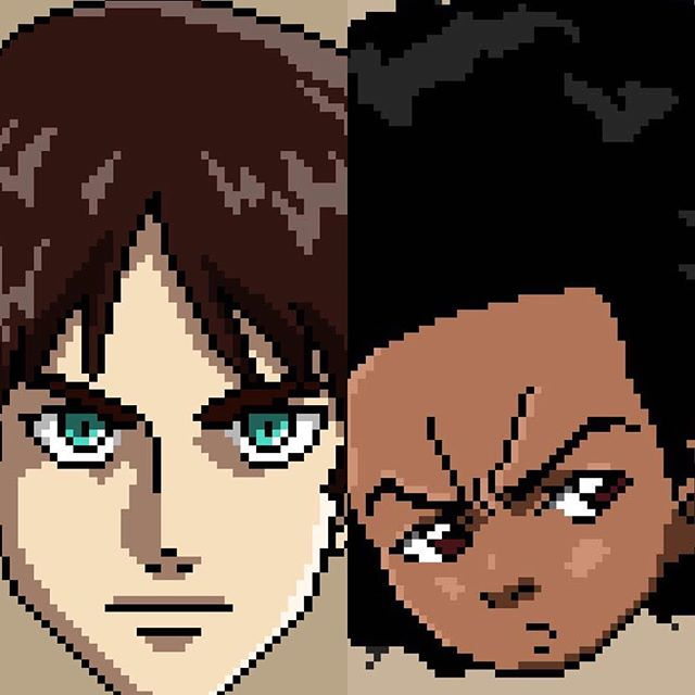 One series completes and another begins! Go check out @8bitcharacters to see the entire #AttackonTitan series and as we explore #TheBoondocks series 💥