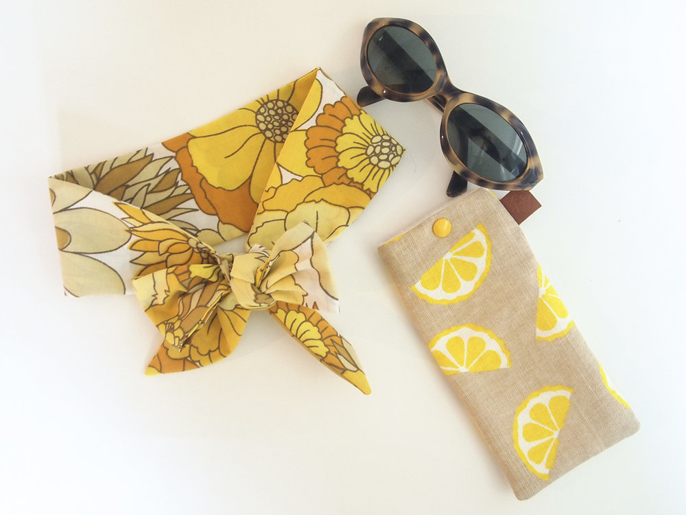 The headband and sunglasses are just perfect for the recent spate of sunny days we've been having. When the sun decides to hide behind some clouds, just pop the sunglasses in this cheery lemon-print case to keep them safe. Headband:Bobbie and Lola Sunnies:Threads Glasses case:Jenny Sibthorpe