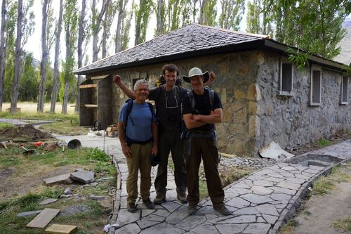 Rick (left), Weston (center) and Jib (right) at the end of the hike in front of a newly renovated hostel and campground that will someday make a welcome ending to the hiking trail that the team pioneered. Photo: a local gaucho with Rick's camera