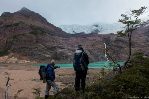 On the morning of day three the boys dropped into a new drainage lined with hanging glaciers. Photo: Weston Boyles