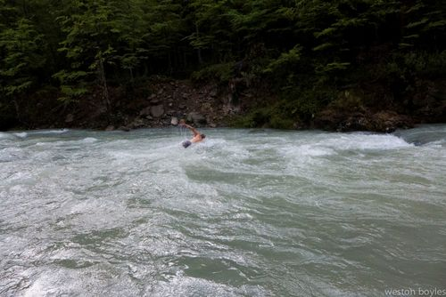 Rick makes the swim across the glacial water at the first and hardest ford. Photo: Weston Boyles