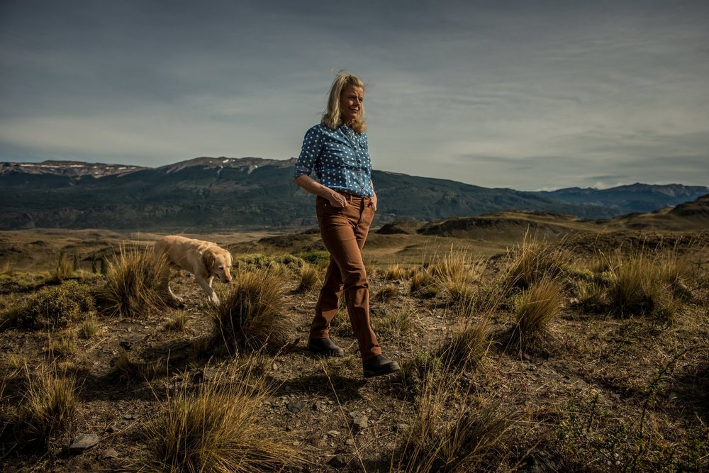 Kristine McDivitt Tompkins with her dog, Wacho, on a ridge overlooking land that the Tompkins Conservation donated to the Chilean government. Credit: Meridith Kohut for The New York Times