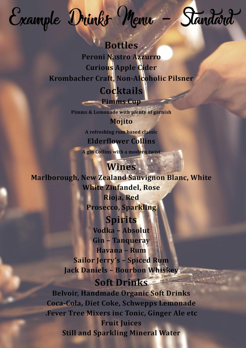 A popular standard drinks menu.