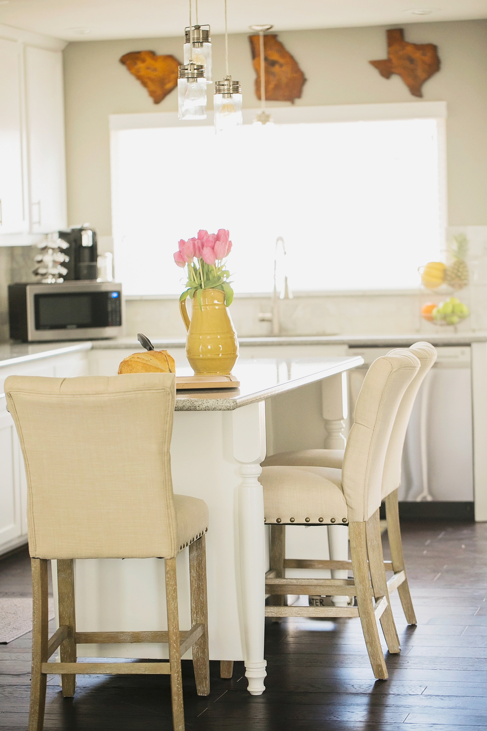 have a seat comfortable kitchen chairs They are also adorned in nailheads see a trend here and sit around my kitchen island offering comfortable seating for early morning breakfasts and blog