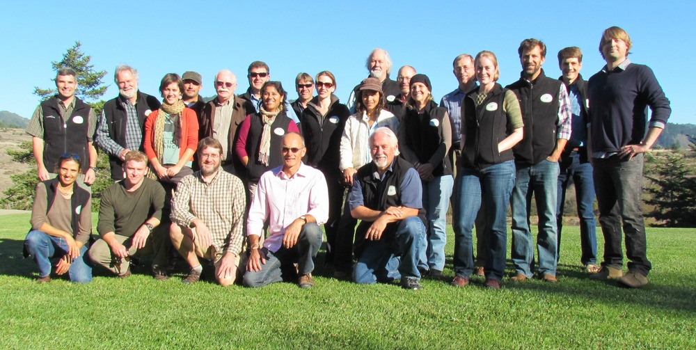 Farallon Institute Symposium 2012.  Standing (left to right): Rob Suryan, Zack Powell, Adele Paquin, Jason Hassrick, Alec MacCall, Nate Mantua, Marisol García-Reyes, John Field, Julie Thayer, Anna Weinstein, John Piatt, Andy Thomas, Dawn Breese, Larry Campbell, Sarah Ann Thompson, Jeff Dorman, Marcel Losekoot, Jarrod Santora. Kneeling (left to right):  Kyra Mills, Brian Wells, Steven Bograd, John Largier, Bill Sydeman