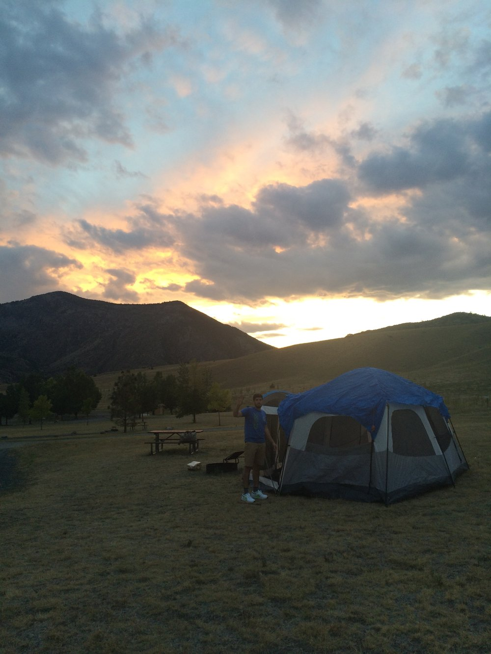 Matt and I camping and Lewis and Clark Caverns State Park in Montana, September 2015