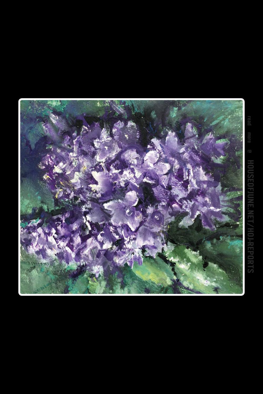 Agron (Gon) Bregu   (Acrylic on Paper)  Purple Flowers (Campanula), 2017