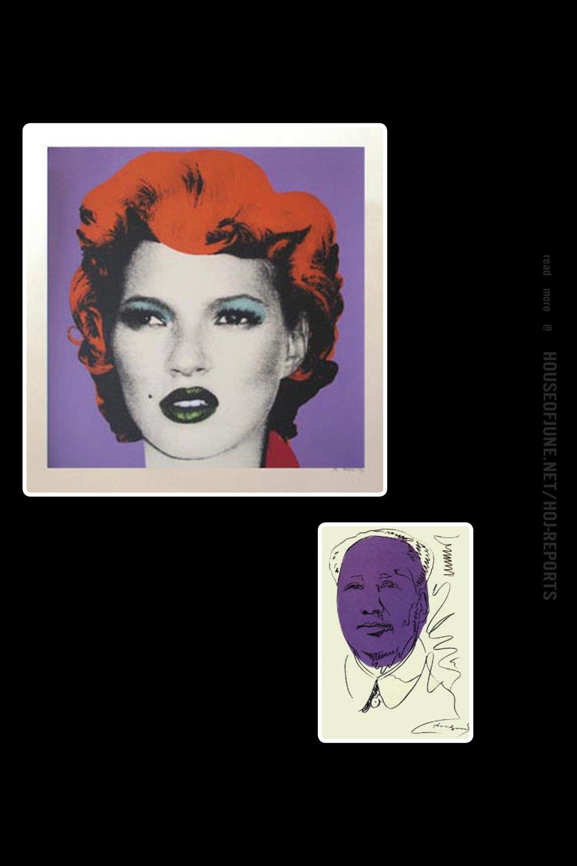 Banksy   (Screenprint)  Kate (Purple), 2005 /  Andy Warhol   (Silkscreen)  Mao - White and Purple Wallpaper (Signed), 1974