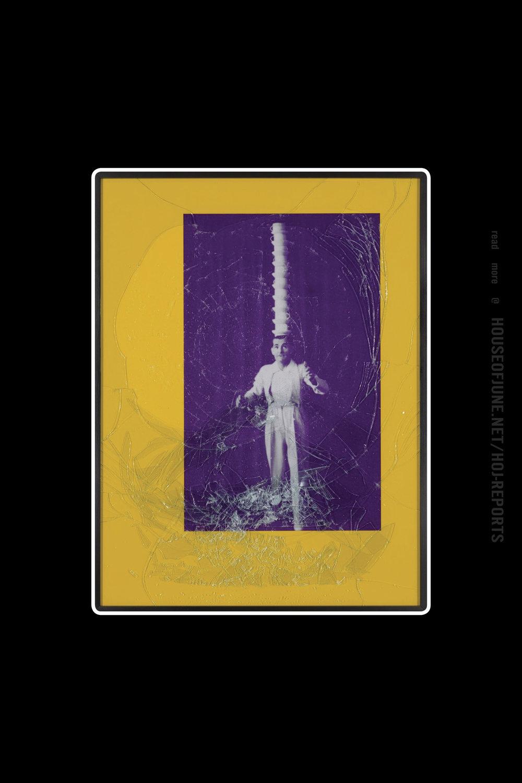 Barbara Bloom   (Iris Print in Colored Matte With Broken Glass Embedded in Plexiglas)  Balance #1 (Purple Head Stack), 2001