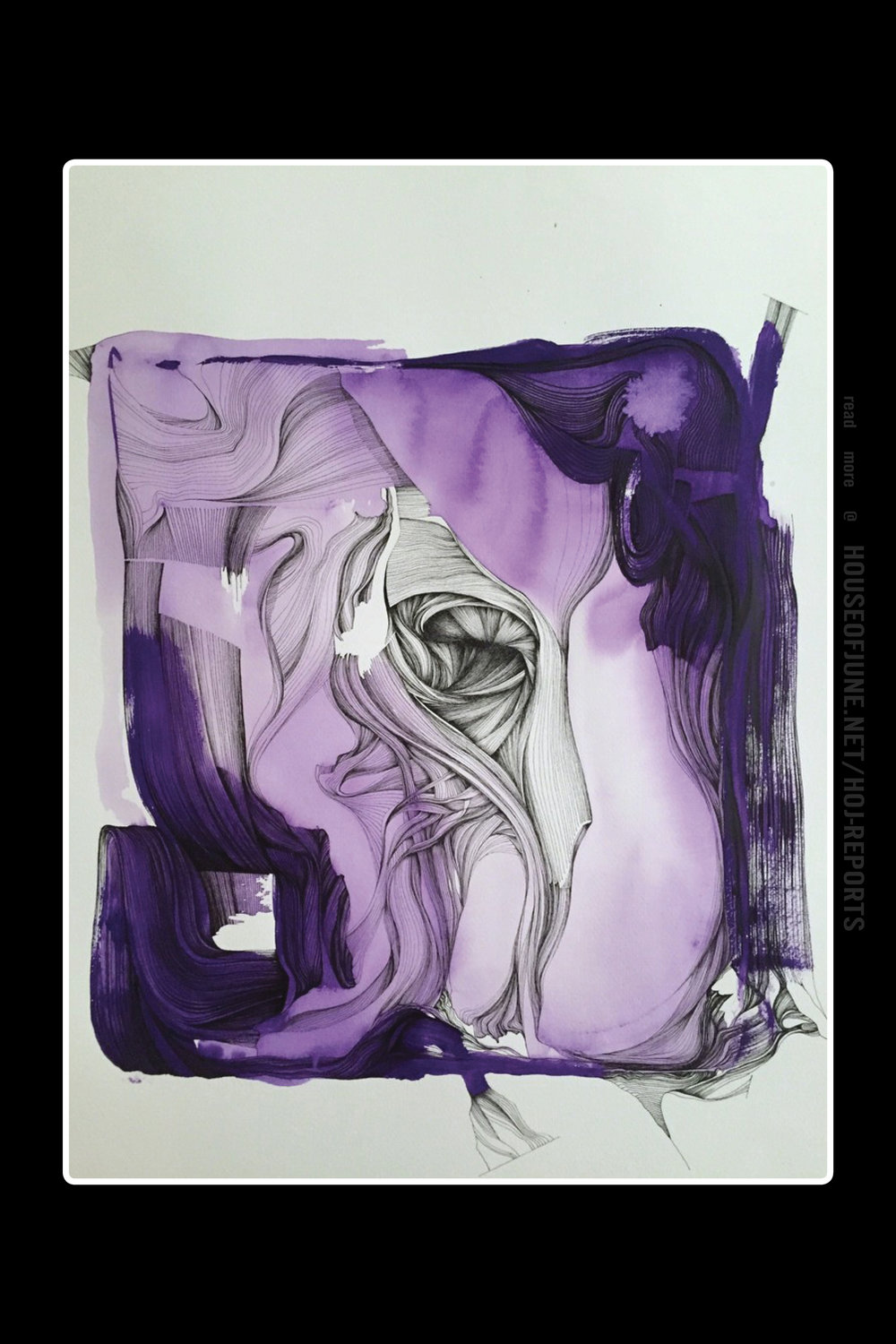 """Mariusz Navratil   (Acrylic and Ink on Paper)  Structural Impressions on Color """"Violet"""", 2015"""