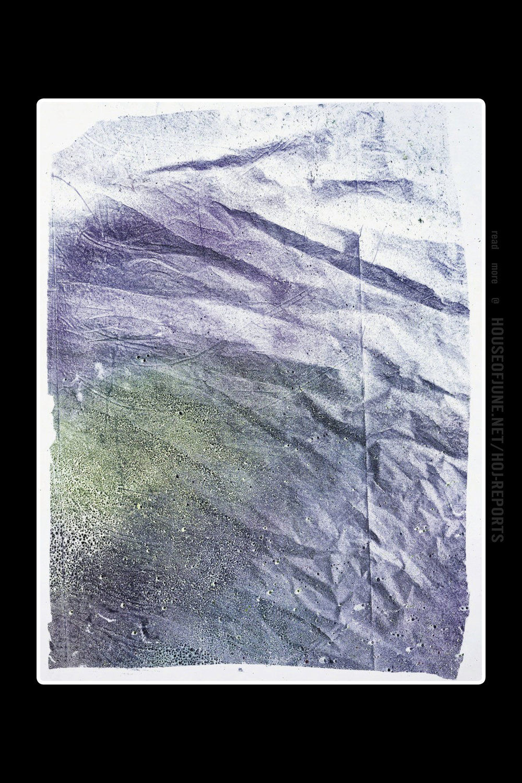 Matt Jacobs   (Dye on Paper)  Residual Monoprint 1(Purple and Yellow), 2016
