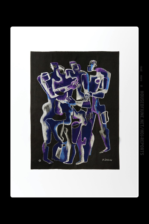 "Ossip Zadkine   (Aubusson Tapestry)  Tapestry ""Violet Sur Fond Noir"""