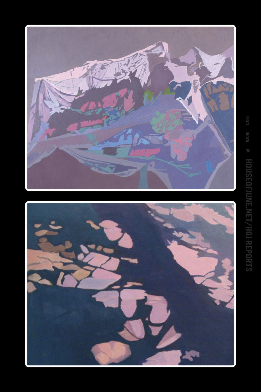Ralph Wickiser   (Oil on Linen)  Purple Net, 1994 & Purple Stripe