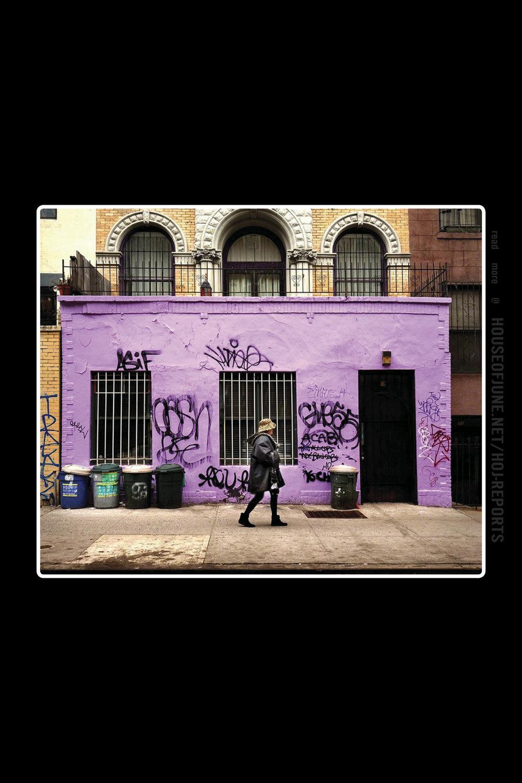 Sally Davies   (C-print on Epson Fiber Paper)  Purple Building Graffiti , 2015