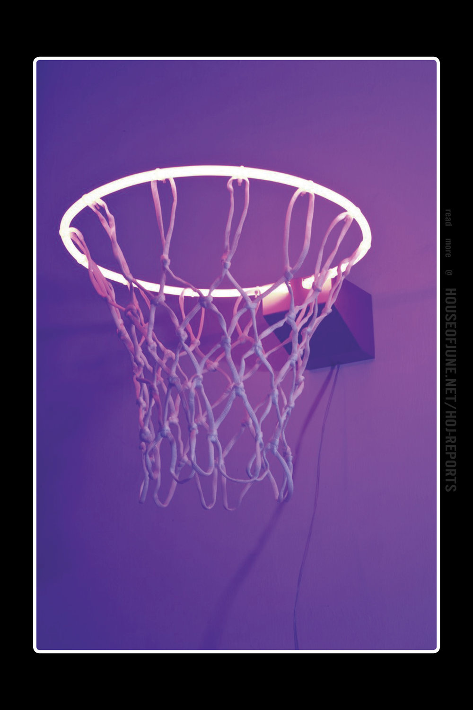 Zhou Wendou   (Neon Light, Basketball Net, Aluminium Board)  Fragile State - Purple, 2013