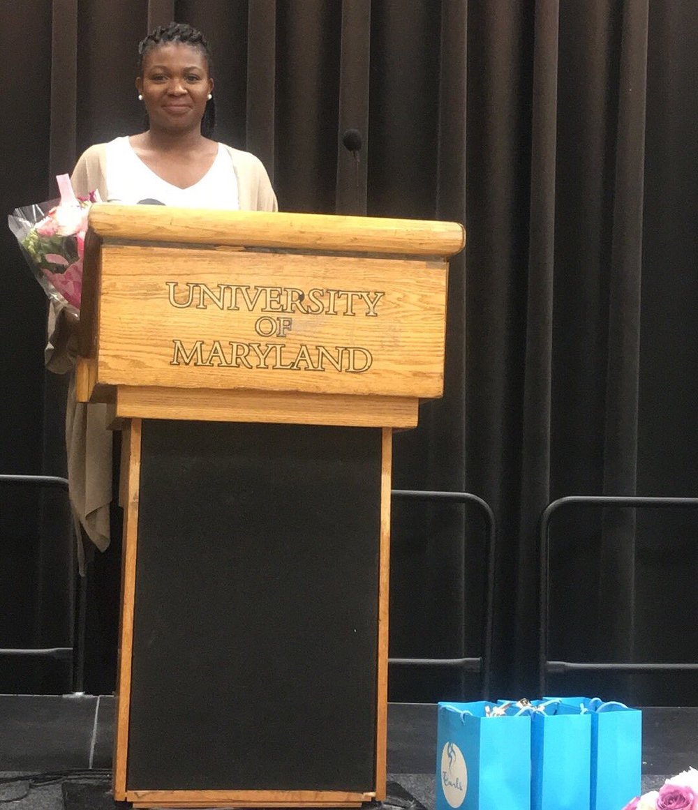 CEO Nadia Laniyan speaking about Cocoa Queens and Breast Cancer in the population of African American women at The National Association for the Advancement of Colored People UMCP chapter and the National Council of Negro Women UMCP chapter  Breast Cancer Awareness Brunch Sunday October 9th.