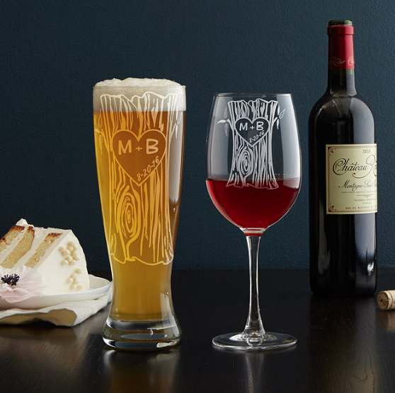 Personalized Tree Trunk Glassware Duo : Celebrate your love of wine, beer, or both with these hand-engraved sweetheart glasses.
