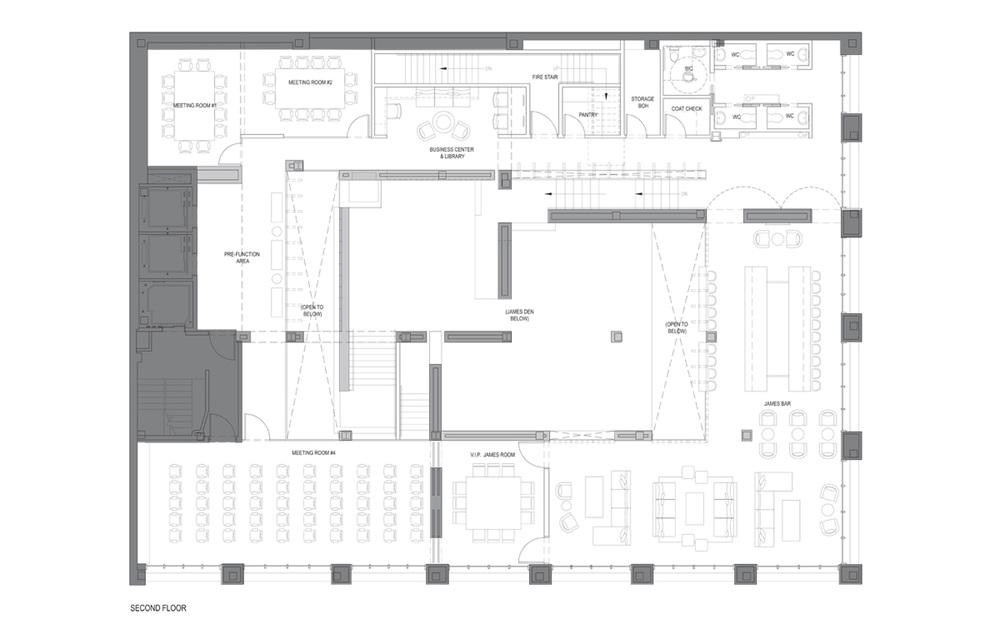 Second Floor Plan, Bar & Meeting