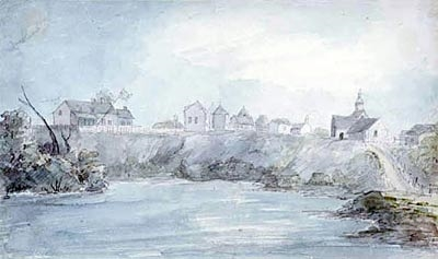 elizabeth simcoe painted this watercolour of mohawk village.